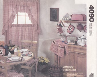 FREE US SHIP McCall's 4090 Home Decor Kitchen Essentials Cow Applique Apron Curtains Appliance Covers Witch Doll Tablecloth Sewing Pattern