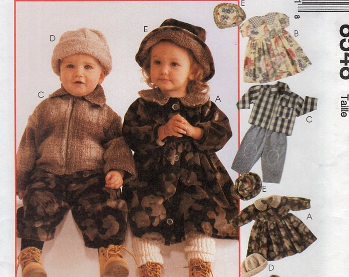 Free Us Ship Sewing Pattern McCall's 8548 Cozy Togs Boy or Girl Flannel Jacket Hat PatternsDress Top Pants Size 1 2 3  New Unused