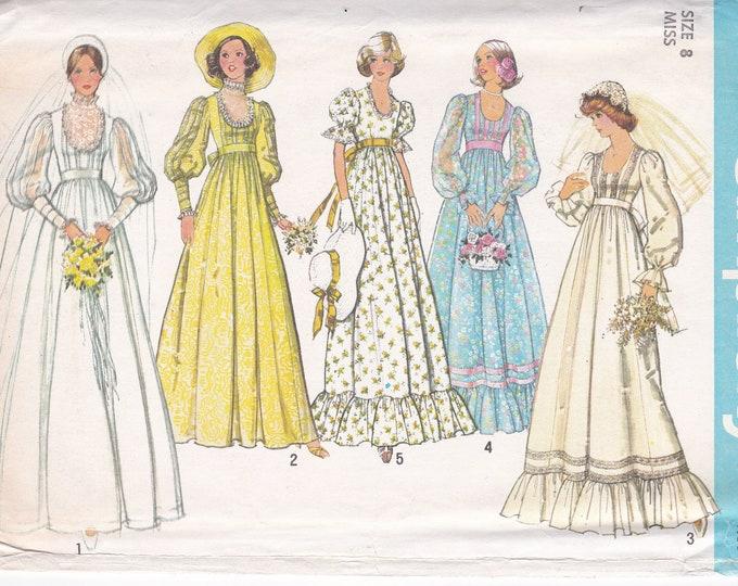 FREE US SHIP Simplicity 7389 Vintage Retro 1970's 70's Bridal Wedding Dress Gown Bridesmaid Uncut Empire  Miss 6, 8 Uncut Sewing Pattern