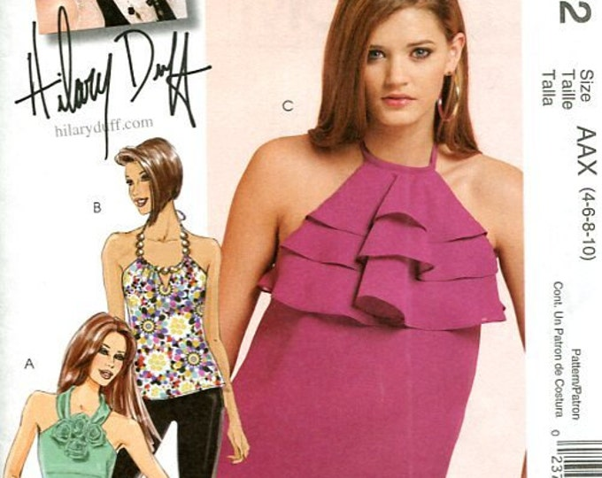 FREE US SHIP McCall's 5852 Hillary Duff Halter Tops 3 Looks Sewing Pattern Brand New Out of Print misses Size 4 6 8 10  Bust 29 30 31 32