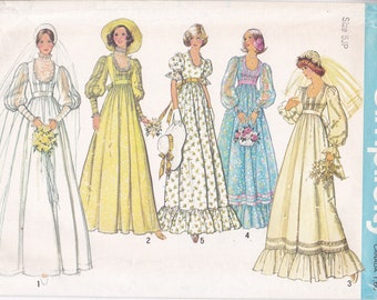 FREE US SHIP Simplicity 7390 Vintage Retro 1970's 70's Bridal Wedding Dress Gown Bridesmaid Empire Junior Petite 5 7jp Uncut Sewing Pattern