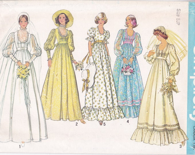 FREE US SHIP Simplicity 7390 Vintage Retro 1970's 70's Bridal Wedding Dress Gown Bridesmaid Empire Junior Petite 5 7jp Uncut Sewing Pattern