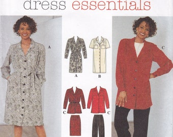 FREE US SHIP Sewing Pattern Simplicity 7384 Retro 90s 1990s Shirtdress Dress Top pants Easy Elastic Waist Size 6 8 10 Bust 30.5 31.5 32.5 ff