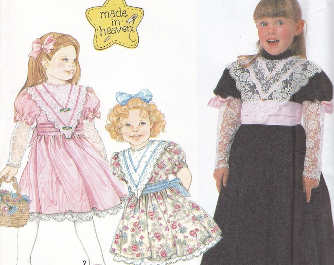 FREE US SHIP Simplicity 7054 Girls Dress Sash Made In Heaven Lamb-chop sleeve 1990 Size 2 3 4 5 6 6x Sewing Pattern Uncut New