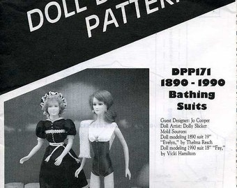 FREE US SHIP Poissot Doll Dress Pattern Retro 1990's dpp171 1890 - 1990 Swimsuits Sewing Pattern Insert From Dollcrafter Vintage Magazine