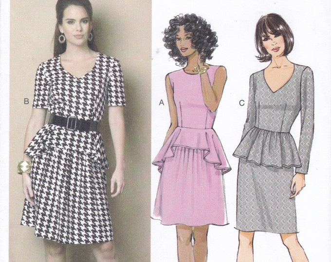 FREE US SHIP Butterick 6087 Line Peplum Dress Size 6/14 6 8 10 12 14  Bust 30 31 32 34 36 Sewing Pattern Out of Print Factory Folded
