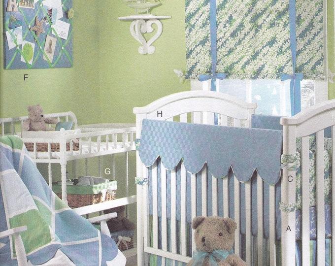 FREE US SHIPButterick 4947 Nursery Bedding Infant Baby Crib Sheet Window Treatment Memo Board Bumper Pad Quilt Diaper wipes