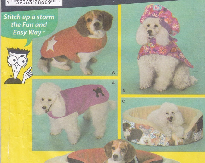 FREE US SHIP Sewing Pattern Simplicity 4793 Crafts Animal Pet Dog Cat Bed Small to Large Coat Hat Sewing for Dummies New Factory Folded