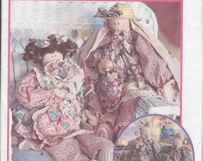 """FREE us SHIP Simplicity 9412 Sewing Pattern 1995 Whimsical  Dolls 29"""" Stuffed Bear Bunny Rabbit Cat & Clothes Uncut Patricia Brown"""