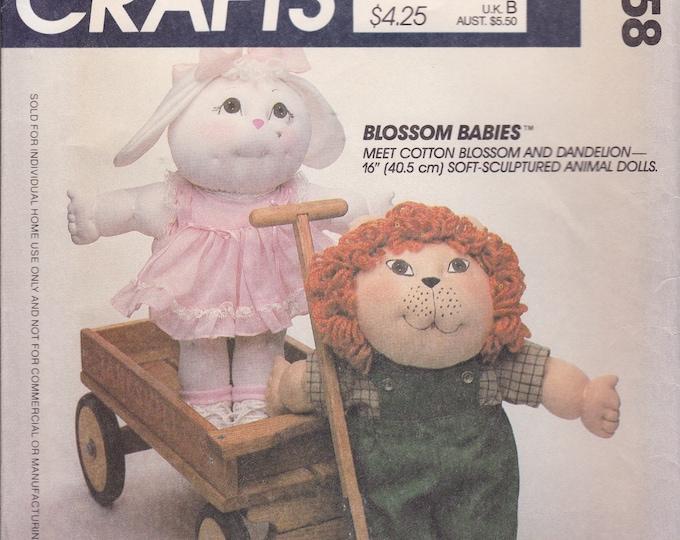 FREE US SHIP McCalls 9258 Vintage Retro 1980s 80s Factory Folded Soft Sculptured Blossom Babies Doll Animals Cotton Dandelion ff Faye Wine