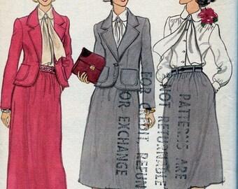 FREE US SHIP Vogue 9856 Vintage Retro 1970s 70s Suit Jacket Skirt Blouse Evening Length Uncut 10 Bust 32