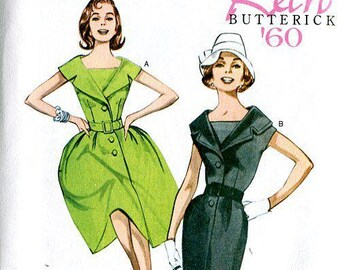 Butterick 5747 Free Us Ship  Vintage Retro Sewing Pattern Retro 1960's Wiggle or Full Dress 2012 Size 8/16 16/24 Bust 30- 46 Out of Print