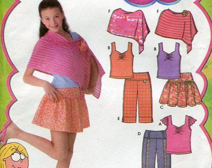 FREE US SHIP Simplicity 4648 Lizzie McGuire Girl  Poncho Top Pants Shorts Mini Skirt Attached Knit Panty Skort Uncut New Pattern Size 8/16