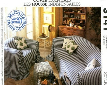 Free Us Ship McCall's 3141 Slip Covers chair ottoman stool sofa slipcovers Sewing Pattern uncut