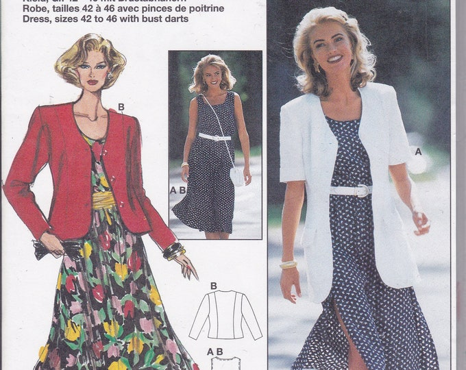 FREE US SHIP Burda 4288 Retro 90's Dress Jacket Elastic Waist  Size 10 12 14 16 18 20 Uncut Bust 32 34 36 38 40 42 Sewing Pattern
