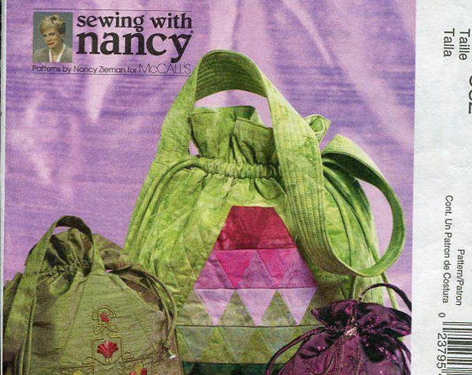 FREE US SHIP McCall's 4884 Sewing With Nancy Fashion Accessories Drawstring Bags Purse Tote Bag Custom Make & match Out of Print Uncut