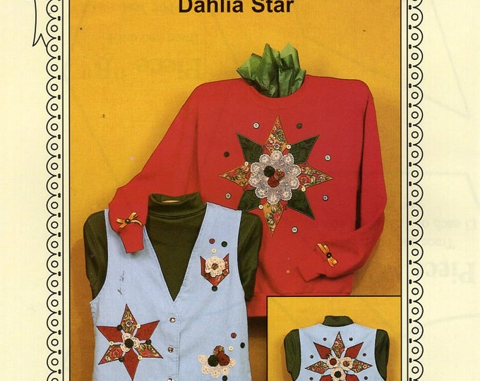 Ozark Crafts DOILY WEAR Dahlia Star Quilt embellishment Applique 1995 Free Us Ship Out of Print Sewing Pattern Unused