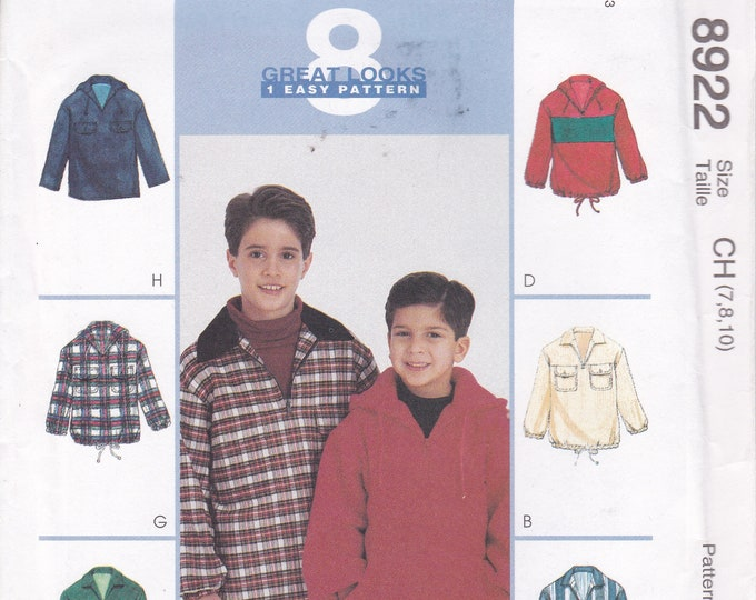 FREE US SHIP McCalls 8922 Sewing Pattern Boys Hoody Sweatshirt Jacket Pullover Zipper Uncut New Out of Print  Size 7 8 10