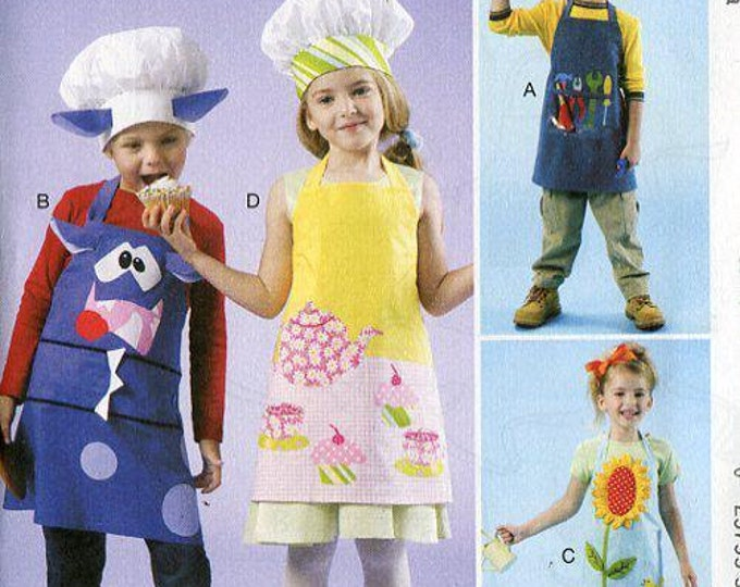 FREE US SHIP McCall's 214 6476 Boy Girl Monster Tool Flower Garden Apron Chef Hats Girl or Boy Uncut Sewing Handmade Craft Pattern