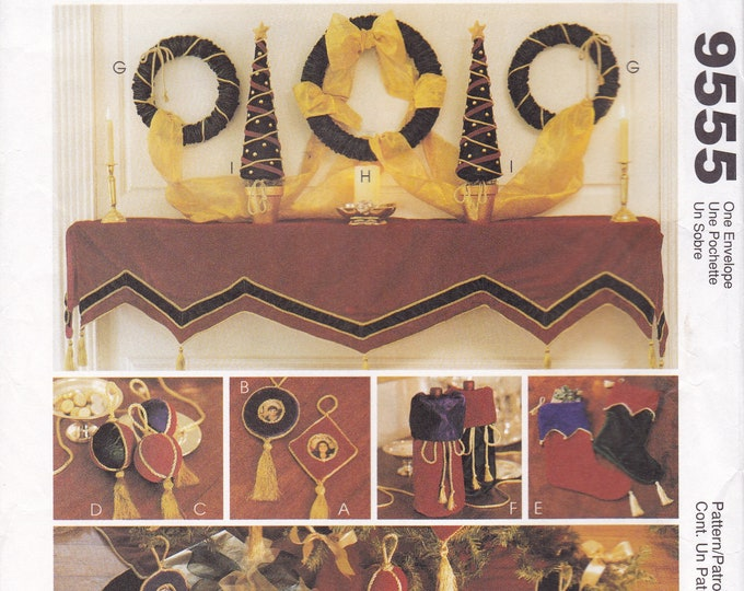 FREE US SHIP McCalls 9555 Sewing Pattern Christmas Mantle Scarf Tree Skirt Wreath Bag Stocking Traditional Factory Folded Out of Print 1996