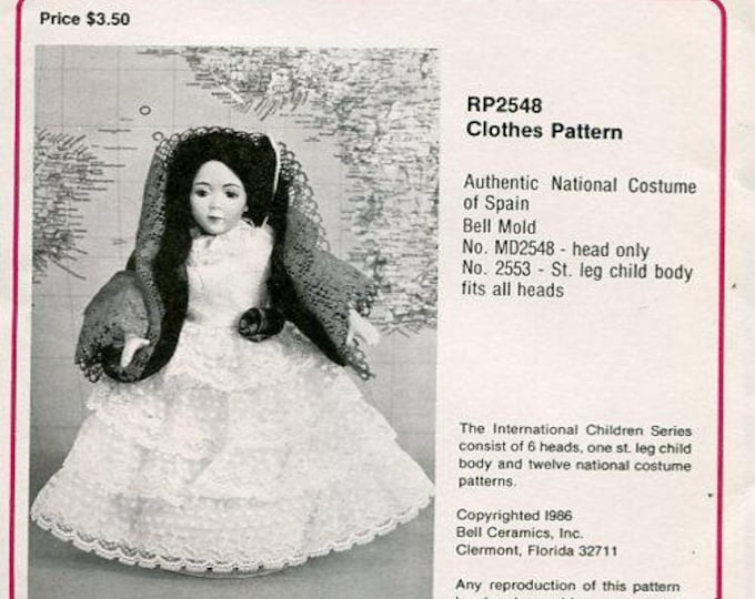 """FREE usa SHIP Bell Ceramics 2548 9.5"""" Doll Clothes Wardrobe Spain Spanish 1986  Craft Out of Print Old Store Stock Sewing Pattern"""