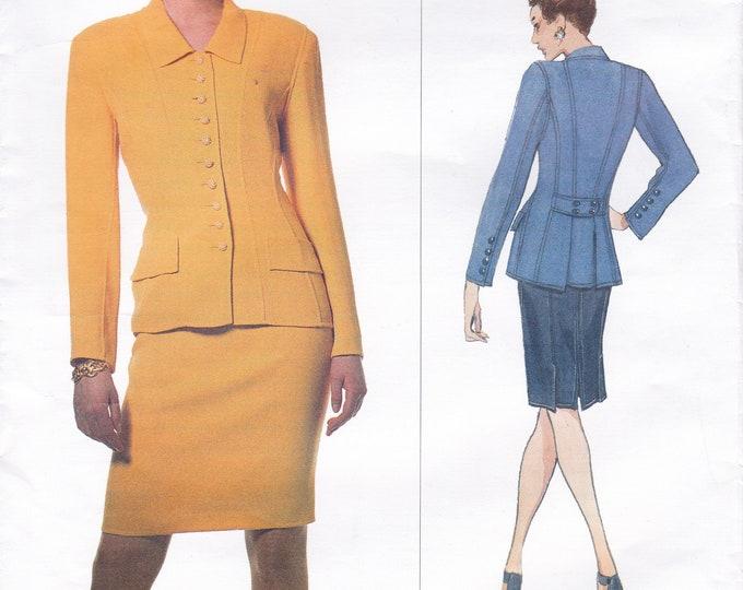 FREE US SHIP Vogue 1638 Oscar de la Renta Business Suit Jacket Skirt Sewing Pattern Out of Print 8 10 12 Bust 31.5 32.5 34 Uncut 1995 Retro