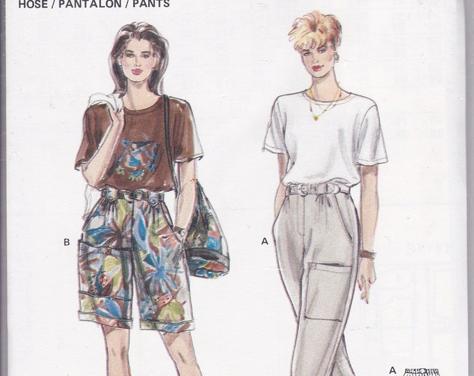 FREE US SHIP Burda 4853 Retro 90's  Cargo Elastic Waist Pants Shorts Size 10 12 14 16 18 20 Uncut Bust 32 34 36 38 40 42 Sewing Pattern