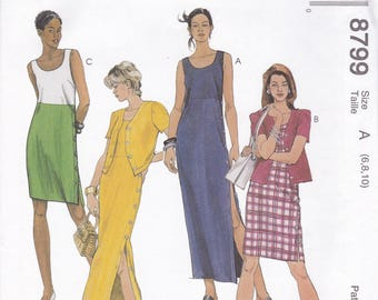 FREE US SHIP McCalls 8799 Sewing Pattern Dress Jacket Button Side Size 6 8 10 12 14 16 Bust 29 30 31 32 34 36 38  Uncut Retro 1990s 90's