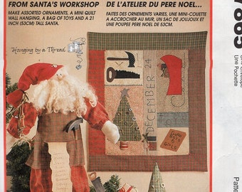 McCall's 7865 232 Sewing Pattern From Santa's WorkShop Doll Toll Quilt Stuffed Toys Saw Hammer Uncut 1995 Free Us Ship