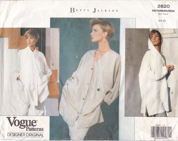 FREE US SHIP Vogue 2620 Sewing Pattern Designer Betty Jackson Loose Fitting tunic Pullover hood 1991 Factory Folded Size 6 8 10