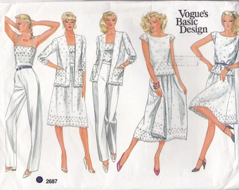 FREE US SHIP Vogue 2687 Sewing Pattern Basic Design Large Envelope Summer Separates Size 10 Bust 32.5 Factory Folded Top Pants Skirt