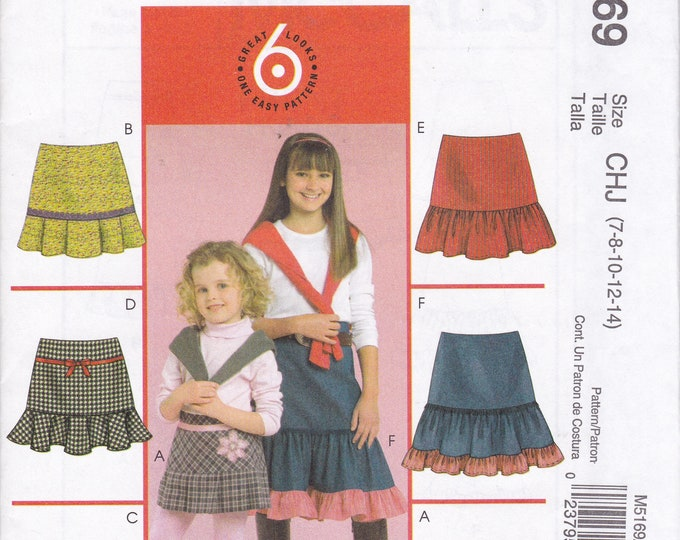FREE US SHIP Sewing Pattern McCalls 5169 6 Easy skirts Hem variations Girl Girls new uncut  Size 3/6 3 4 5 6. 7/14 7 8 10 12 14