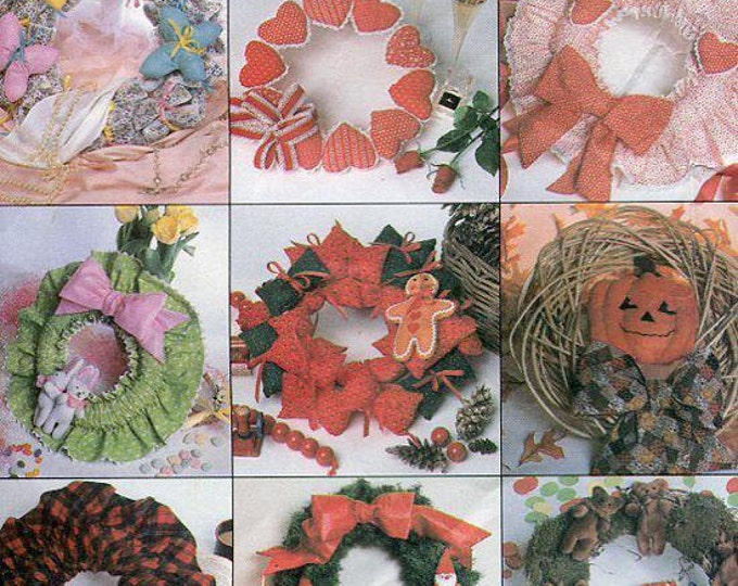 Free Us Ship Sewing Pattern McCall's 902 Fabric Holiday Door Wreath Christmas Halloween Valentines Easter Spring Vintage 1980s 80s 1985