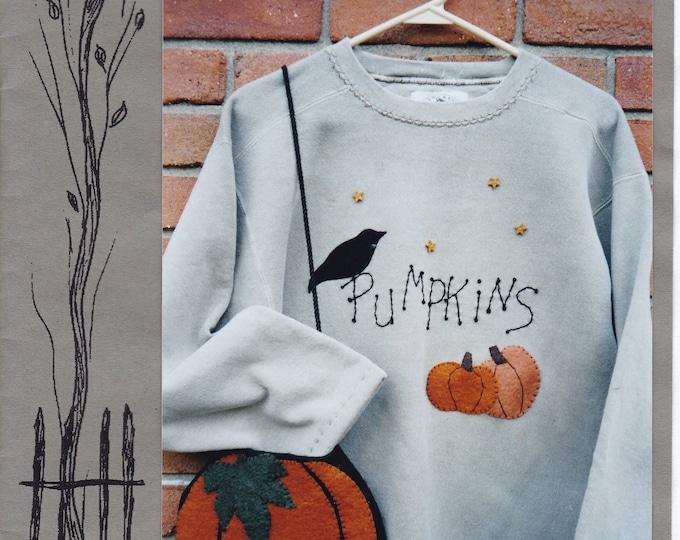 Free Us Ship HALLOWEEN Craft Sewing Pattern Backyard Friends Pumpkin shape Purse Bag Sweatshert Applique 2001 Something to crow about Uncut