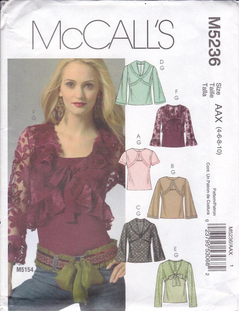 Sewing Pattern McCalls 5236  faux Bolero Tie Tops Size 4 6 8 image 0