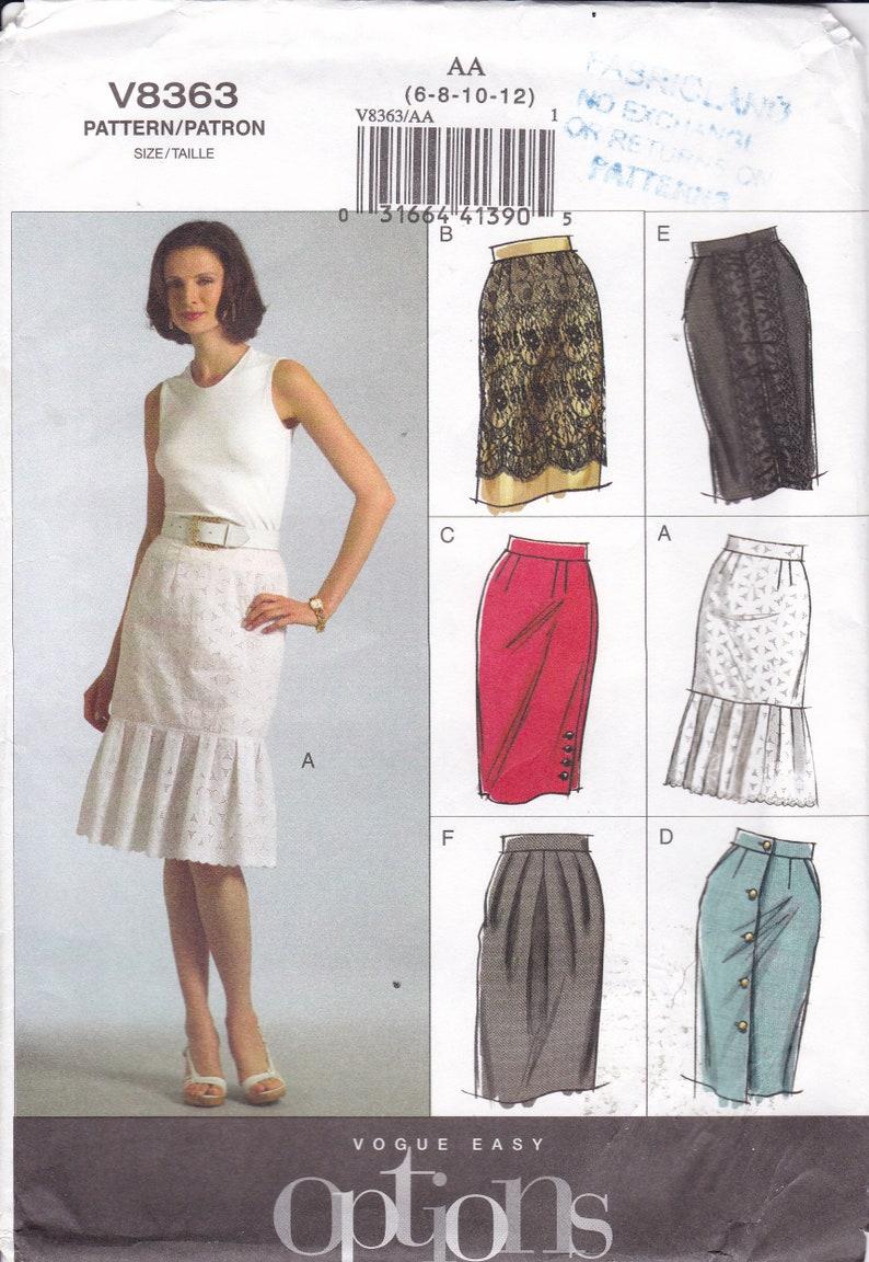 Sewing Pattern for  Skirt Hem variations Vogue Pattern 8363 image 0