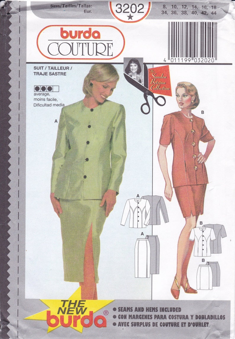 Sewing Pattern Burda 3202  Top Jacket Skirt Size  8 10 12 14 image 0