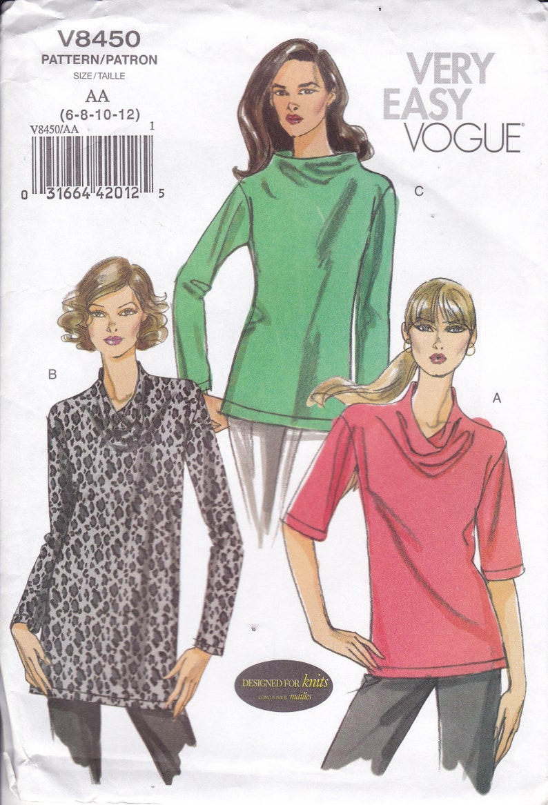 Sewing Pattern for Top Tunic Draped Neck Vogue Pattern 8450 image 0