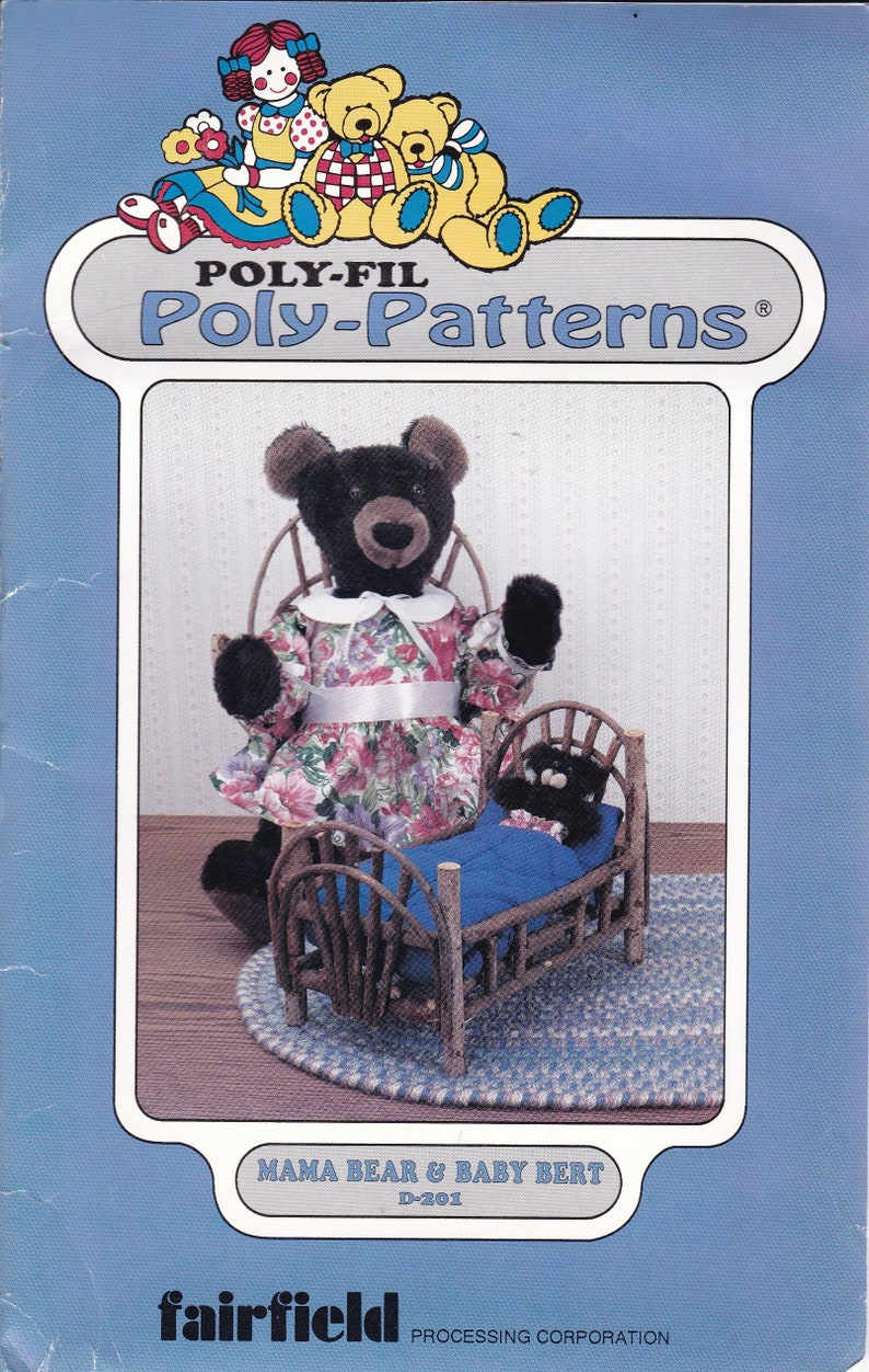 Sewing Pattern FairField Poly-fil  Craft  Mama Bear & Baby image 0