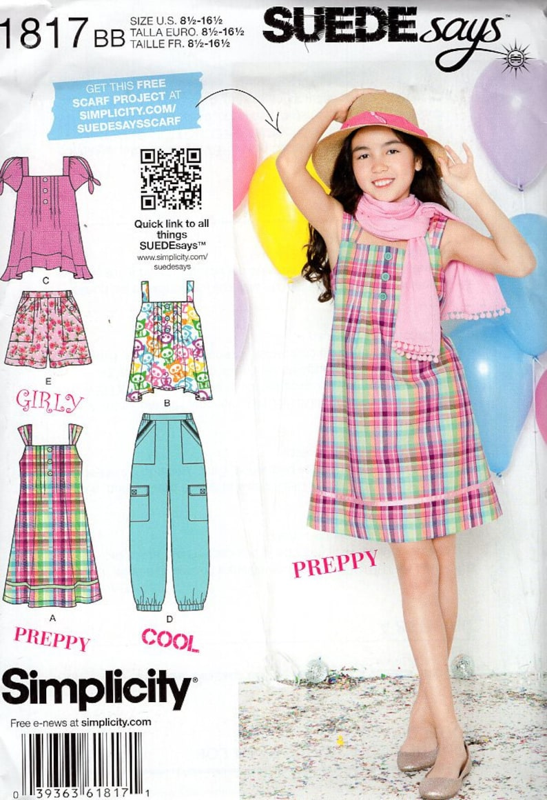 FREE US SHIP Sewing Pattern  Simplicity 1817 Suede Says Girls image 0