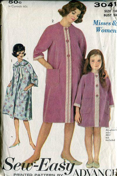 ... Retro 1960 s 60 s Sewing Pattern Advance 3041 Misses Housecoat Robe  Bust 34 Robe. gallery photo gallery photo 9b274c845