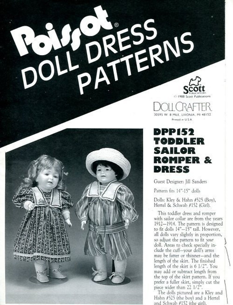 FREE US SHIPPoissot Doll Dress Pattern dpp152 1988 Toddler image 0