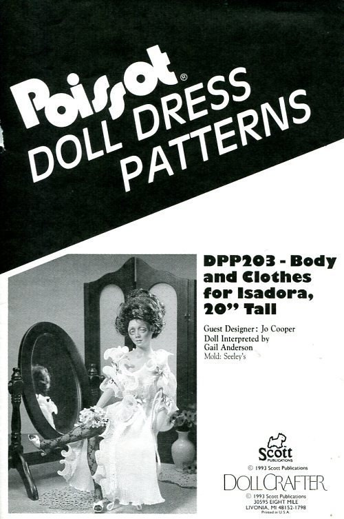 FREE US SHIP Poissot Doll Dress Pattern dpp203 Body & Clothes for ...