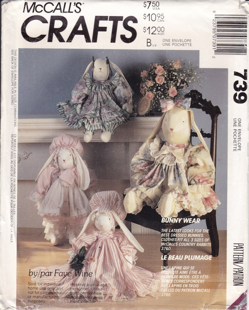Sewing Pattern  for McCalls Country Rabbit Pattern Clothes image 0