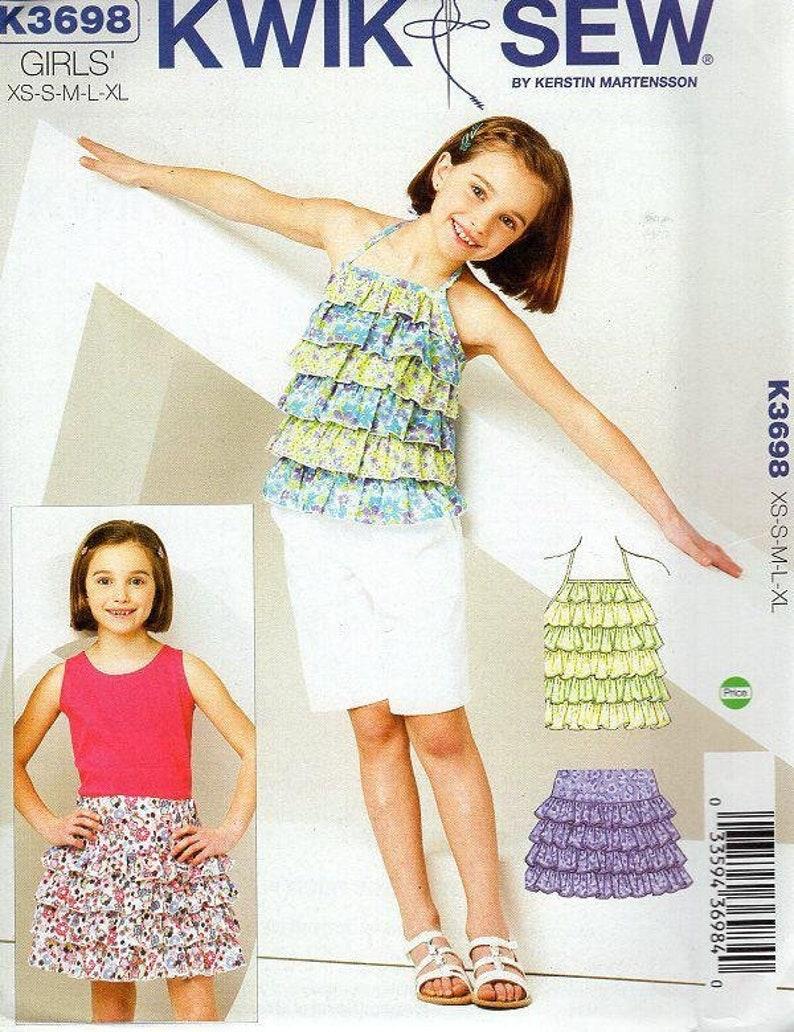 Sewing Pattern Kwik Sew 3698 Girls Ruffly Ruffle Halter Top image 0