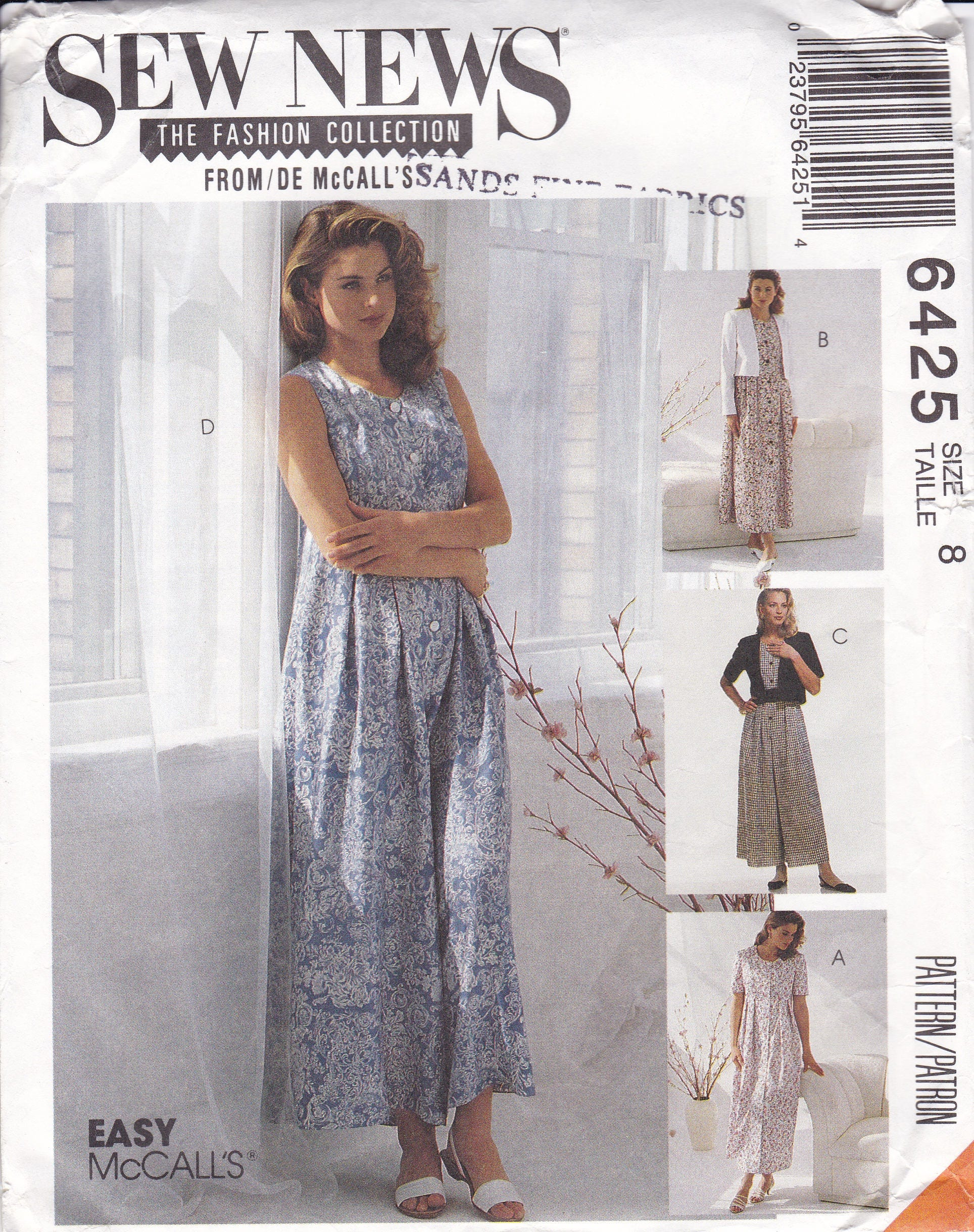 FREE US SHIP McCalls 6425 Sewing Pattern Retro 1990s 90\'s Loose ...