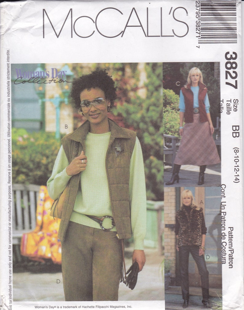 Sewing Pattern for Padded Quilt Vest Skirt Pants  McCalls image 0