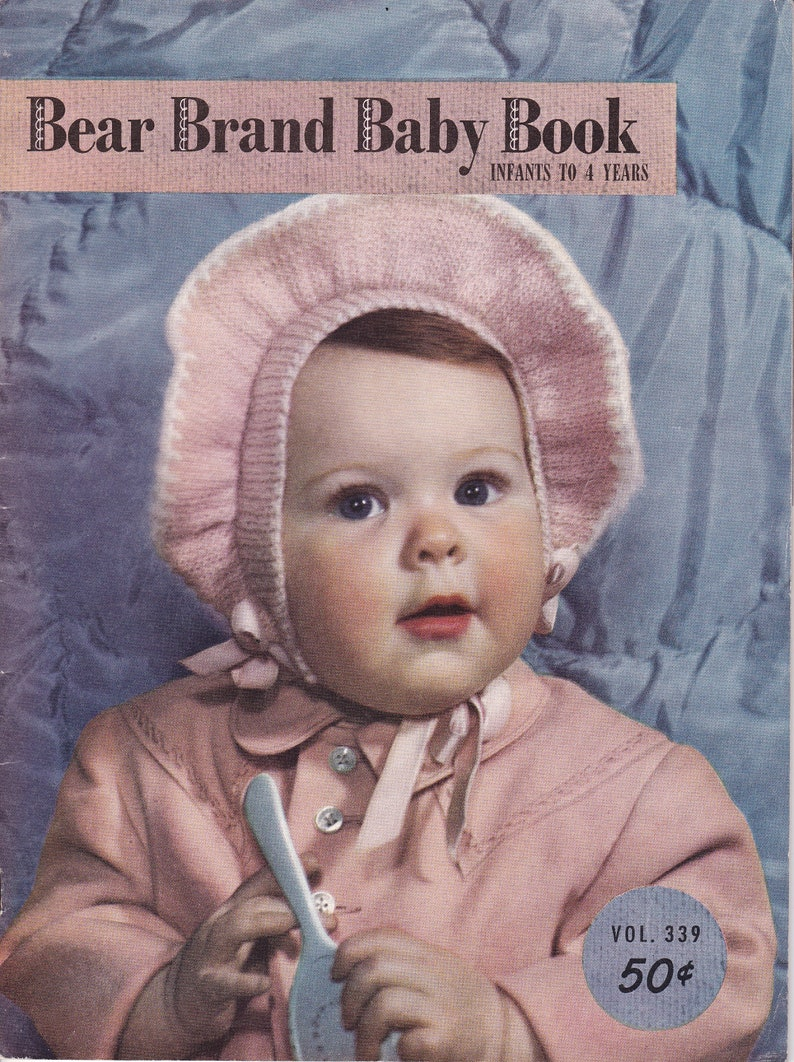 Knit Pattern Book 1950's Bear Brand Baby Book 339 Infant image 0