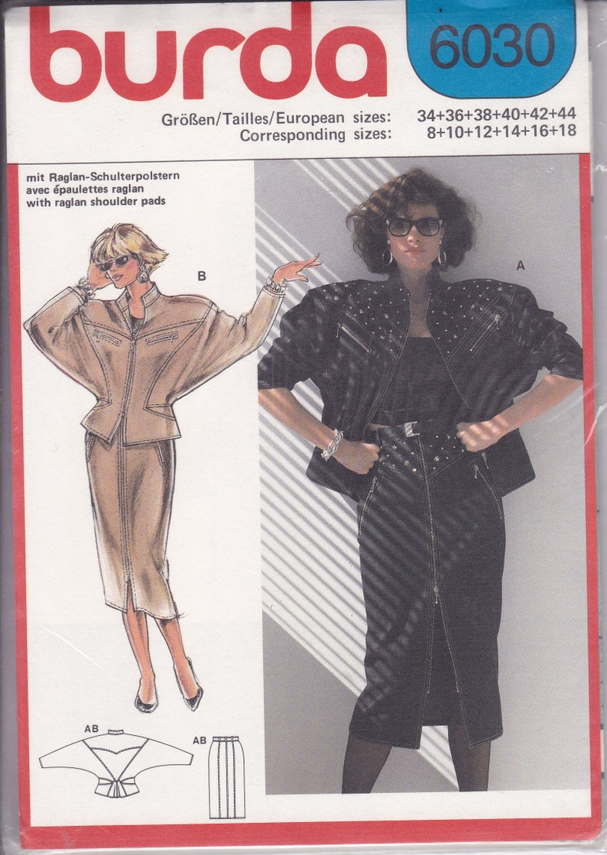 Sewing Pattern Burda  6030 UNCUT Retro 1980s 80's Denim image 0