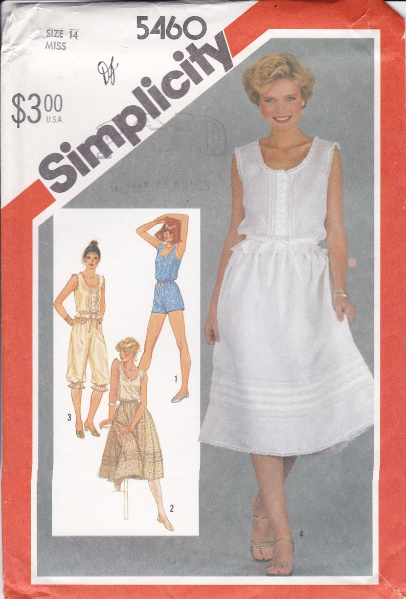 Sewing Pattern for 80s Misses Camisole Romper Pantaloons image 0